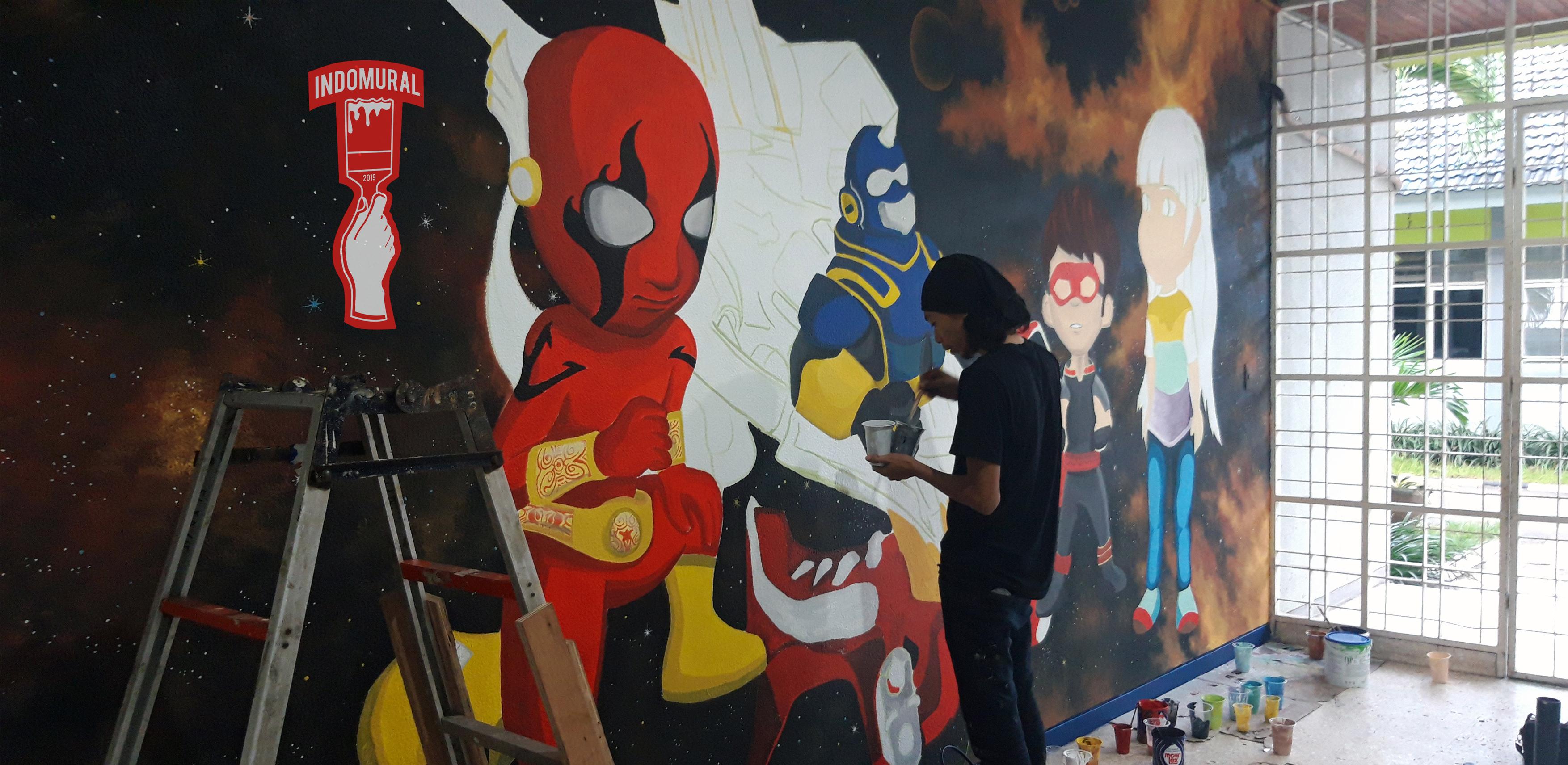 Lukis tembok Kartun, mural kartun